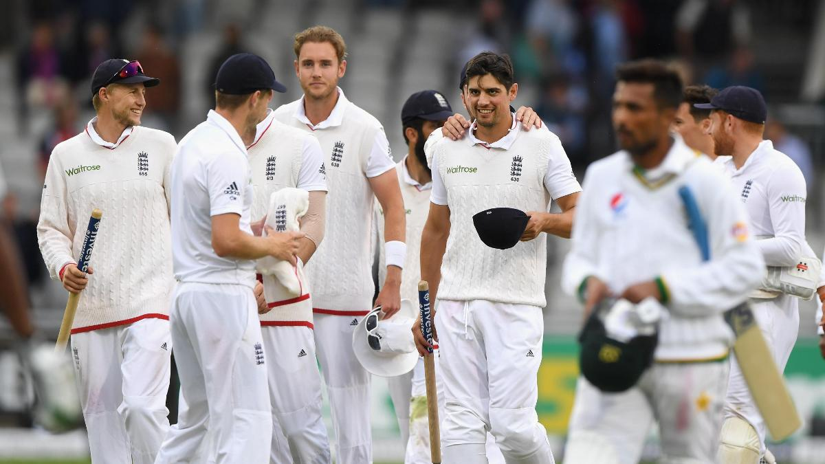 Alastair Cook and his team celebrate a Test win over Pakistan in Manchester