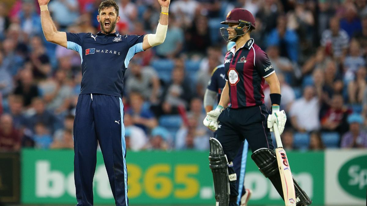 Liam Plunkett celebrates a wicket against the Steelbacks