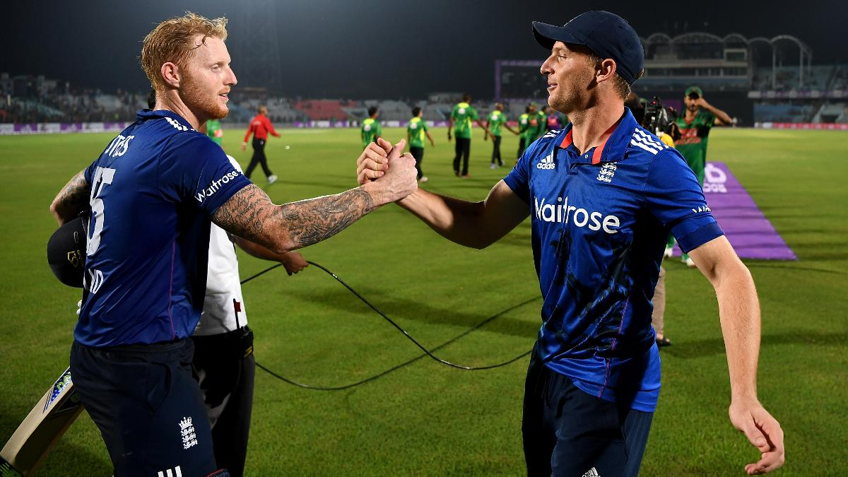 Ben Stokes and Jos Buttler celebrate in Chittagong