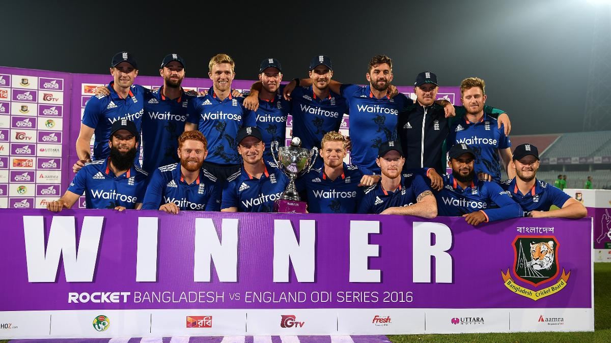 By winning 2-1 England ended a six-series winning streak for the hosts