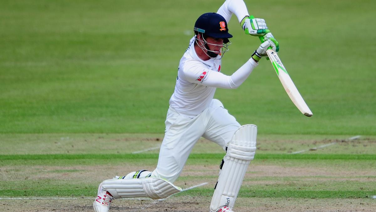 Dan Lawrence drives through the covers as he hits his fifth first-class century