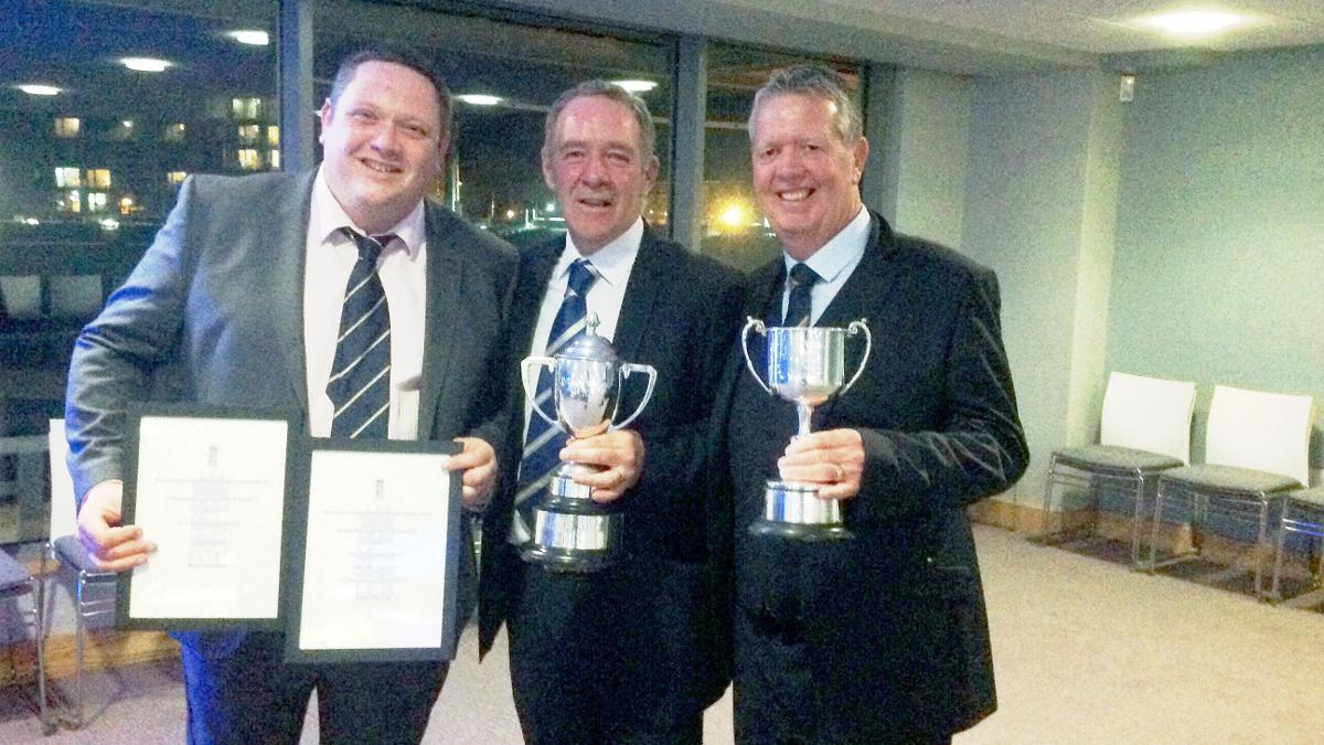 Andy MacKay, Andy Fogarty and Steve Birks with their awards at the ECB Groundsman of the Year Awards