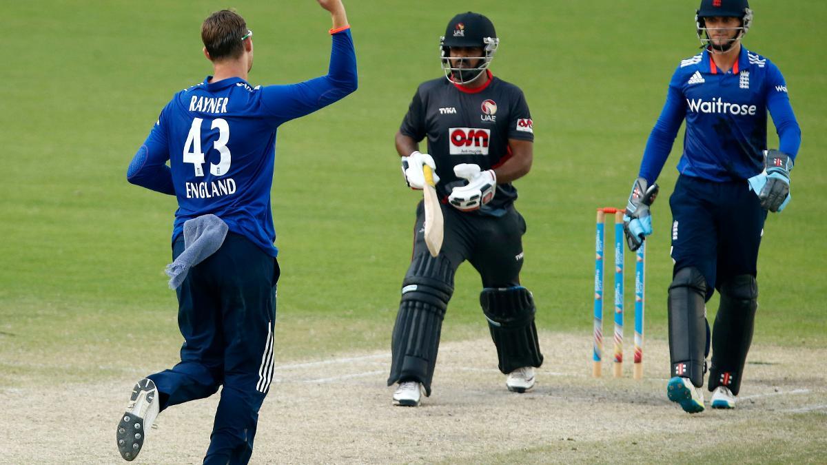 Ollie Rayner celebrates one of three wickets