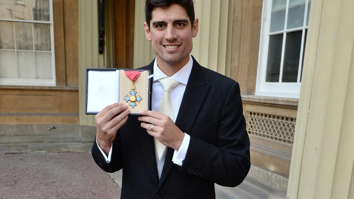 Alastair Cook with his CBE