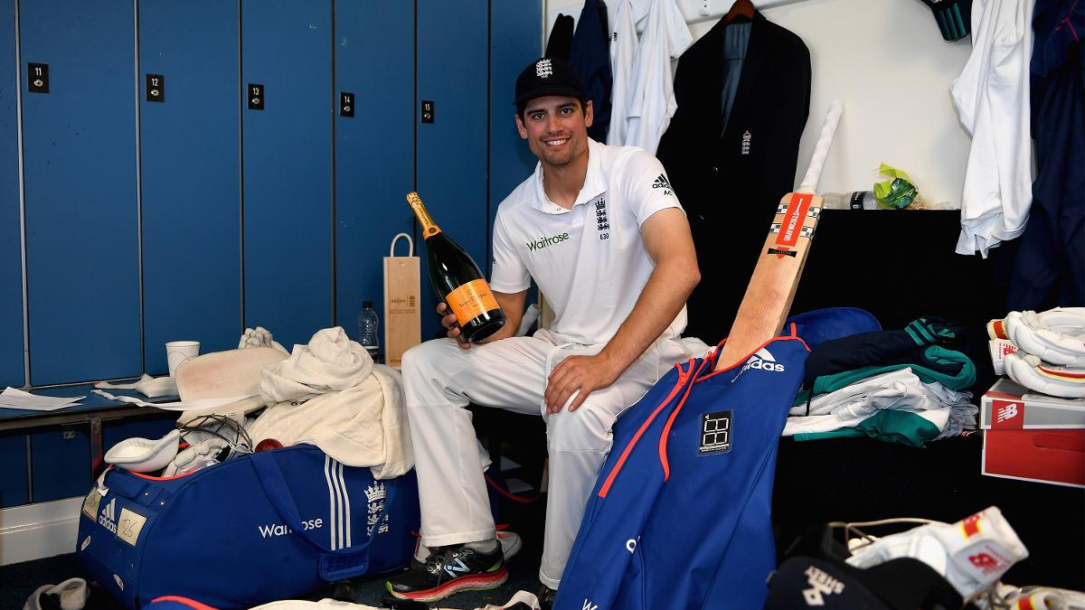 Alastair Cook celebrates passing 10,000 Test runs