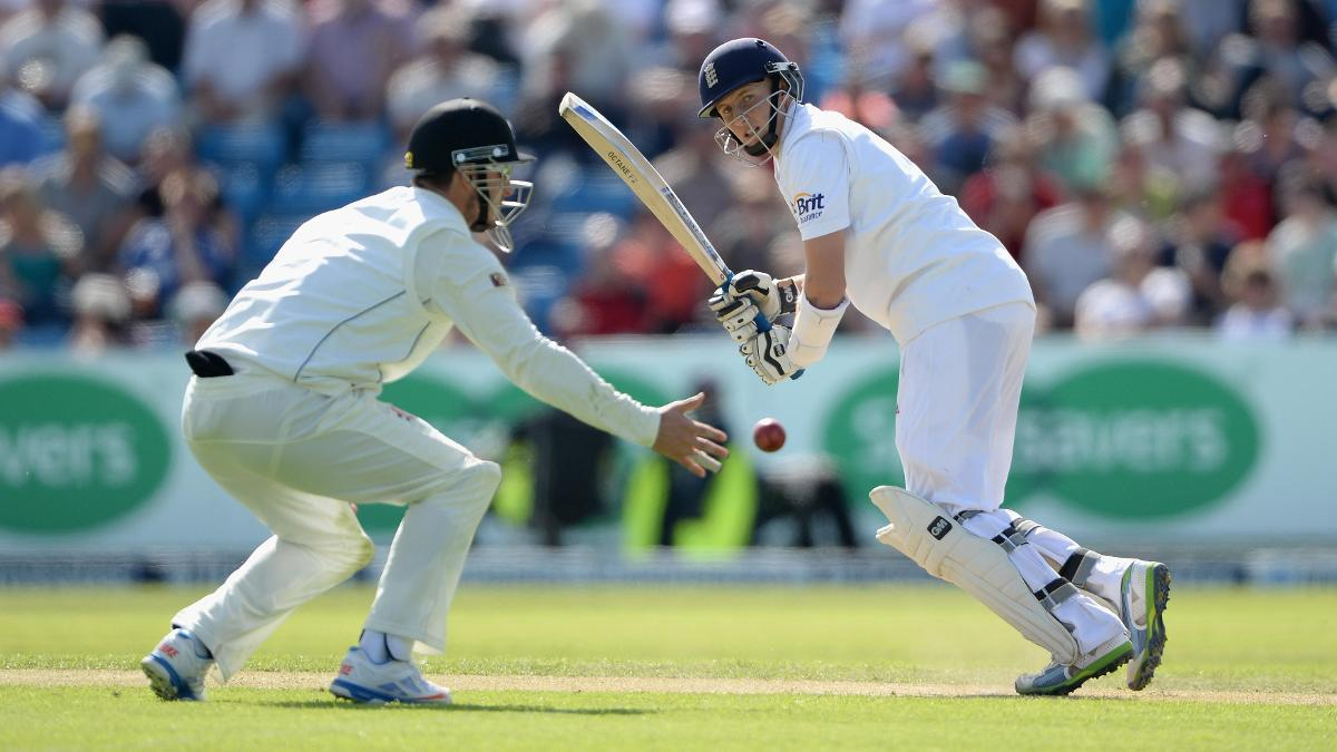 Joe Root in action during his maiden Test hundred against New Zealand