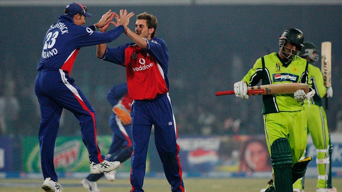 Liam Plunkett celebrates one of three wickets on his ODI debut in Pakistan in 2005