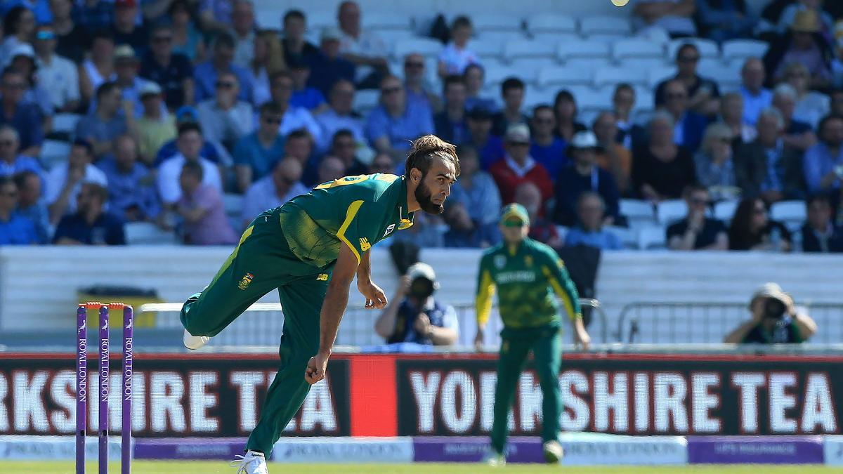 Imran Tahir sends a ball down for South Africa