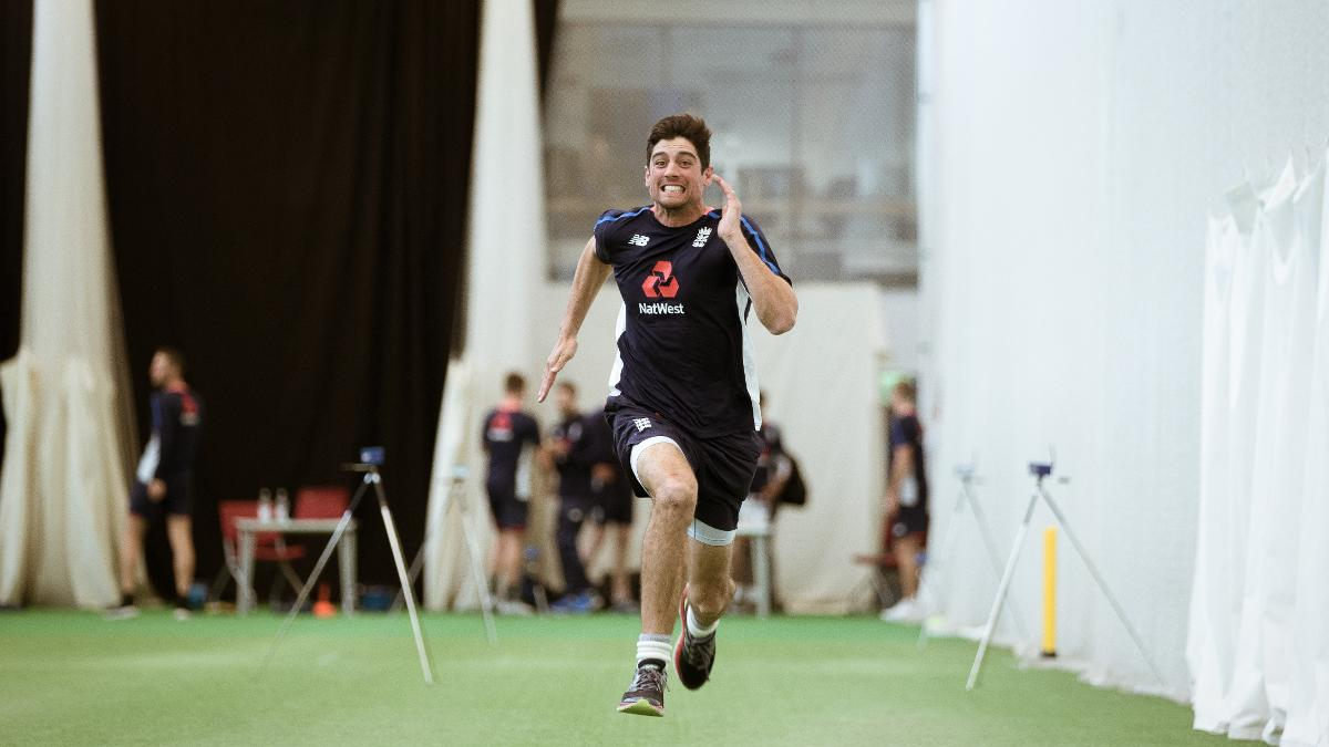 Alastair Cook powers his way through the 40m sprint
