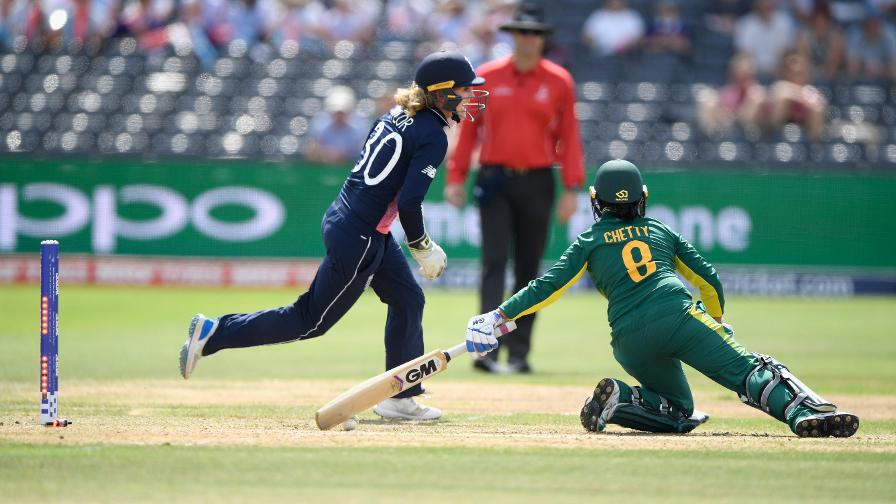Sarah Taylor celebrates her brilliant stumping of Trish Chetty which left South Africa 48/2
