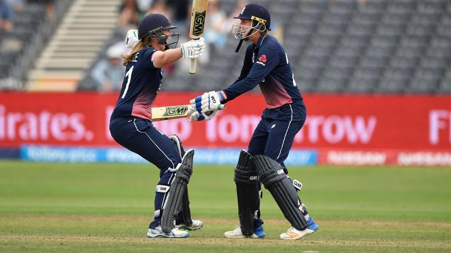 Anya Shrubsole and Jenny Gunn celebrate the winning runs against South Africa