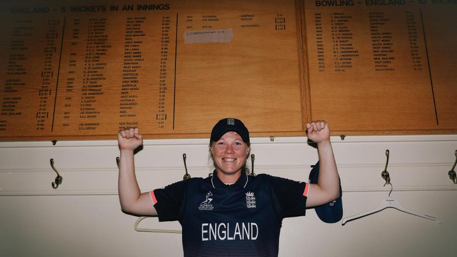 On the honours board! Anya Shrubsole made history at Lord's by taking the first-ever five-wicket haul in a World Cup Final