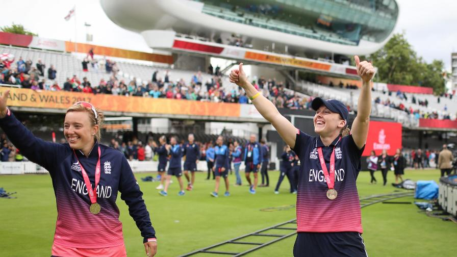Hazell soaks up the atmosphere on a lap of honour after England's World Cup win at Lord's in 2017.