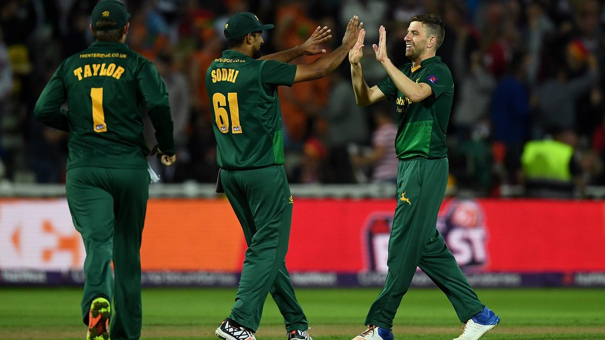 Harry Gurney celebrates a wicket in the final of the NatWest T20 Blast
