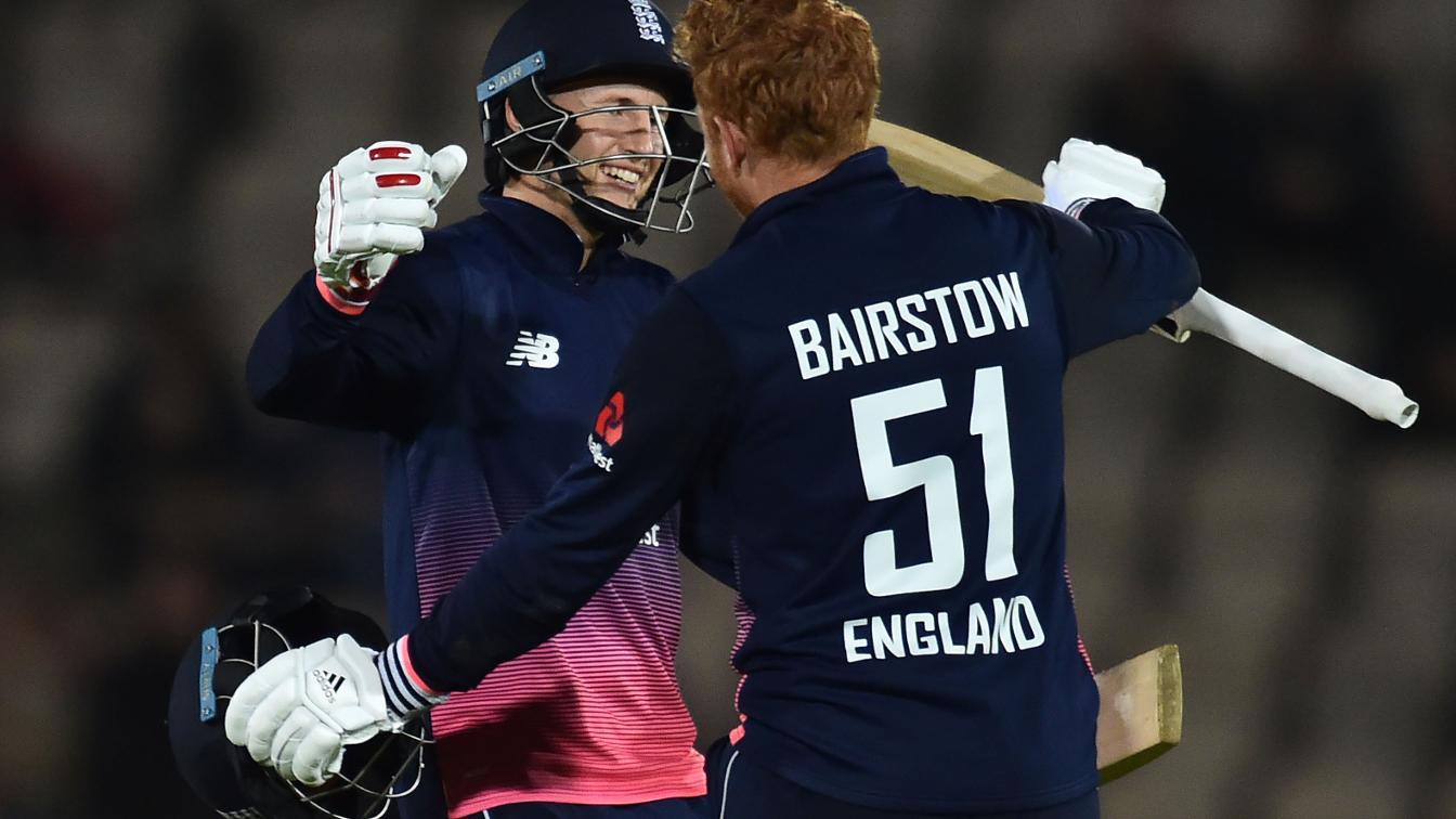 BAIR HUG - Root & Bairstow celebrate the win