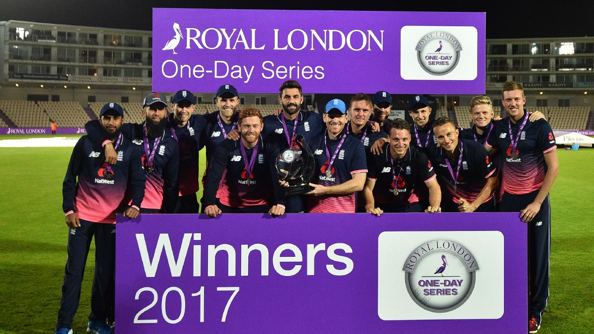 England celebrate winning the Royal London One-Day Series v West Indies