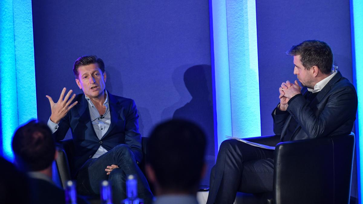 Steve Parish in discussion with Mark Chapman at the Business of Cricket Awards