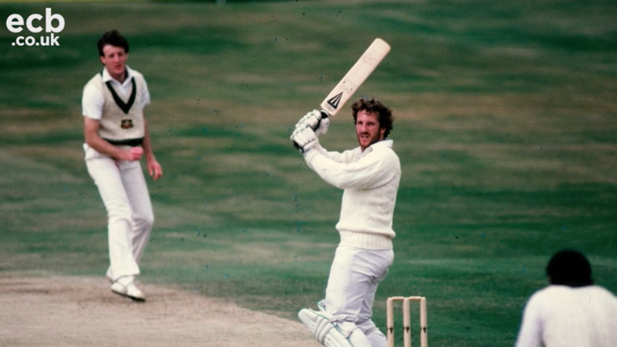 Ian Botham bats in the famous Ashes Test at Headingley in 1981