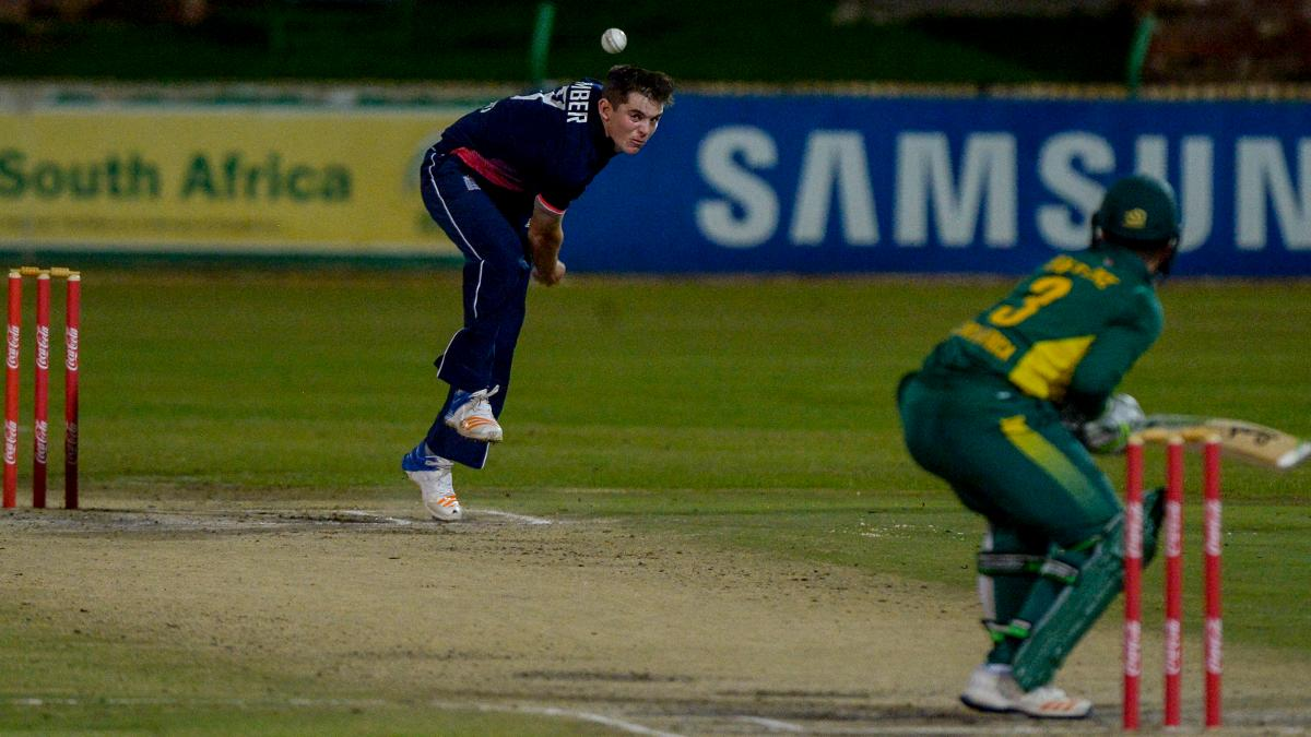 Ethan Bamber in action against South Africa