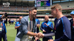 Jimmy Anderson presents Jos Buttler with his 100th cap