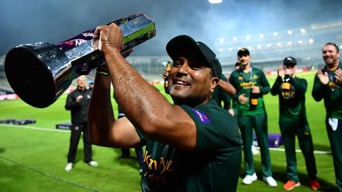 Samit Patel celebrates winning the NatWest T20 Blast