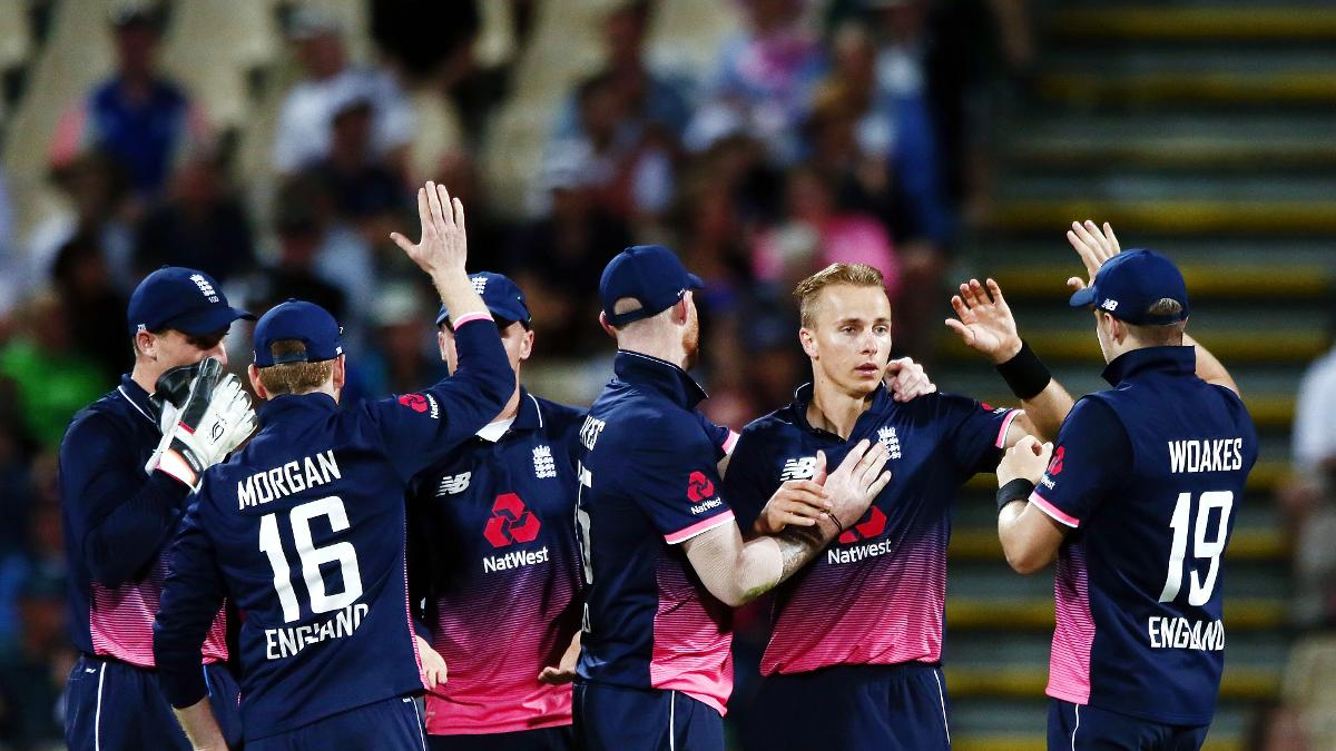 Curran celebrates a wicket during England's ODI series in New Zealand