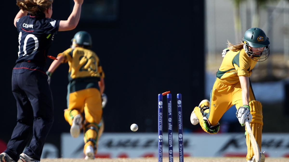 Ellyse Perry is the batter Gunn has found the toughest to bowl at  – pictured here after being run out by the all-rounder