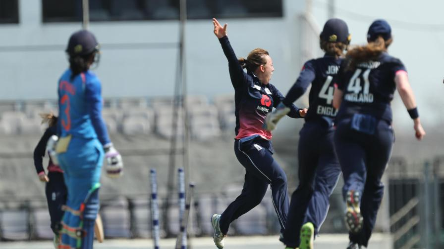 Another great celebration! Dani wheels away after taking the wicket of Mithali Raj in India on the way to taking her career best 4-32.
