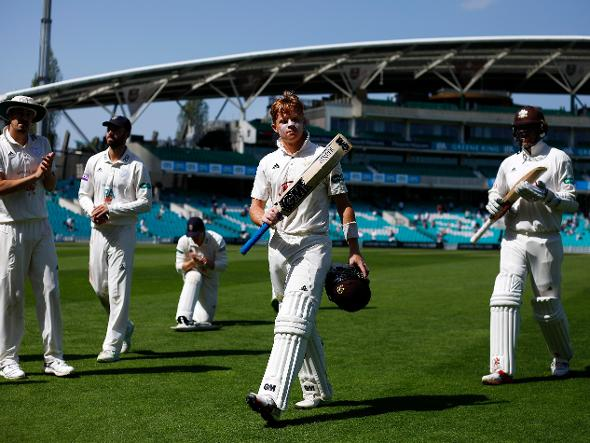 Ollie Pope is applauded after making 145 for Surrey against Hampshire