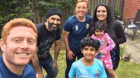 Dani Hazell and Jonny Bairstow deliver an All Stars Cricket kit surprise