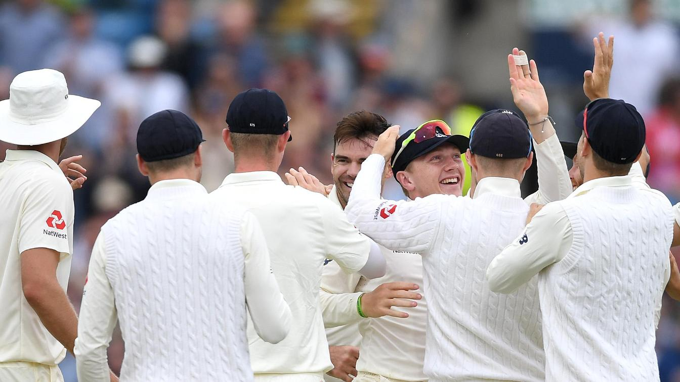 England celebrate on Day 3 at Headingley