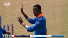 Stokes out, caught Dhoni bowled Hardik