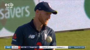 Dhoni out, bowled Plunkett caught Stokes