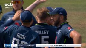 Dhawan out, caught Stokes bowled Willey