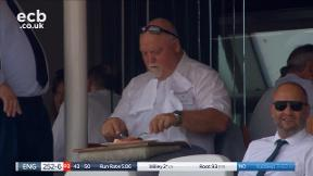 Mike Gatting tucking into his lunch