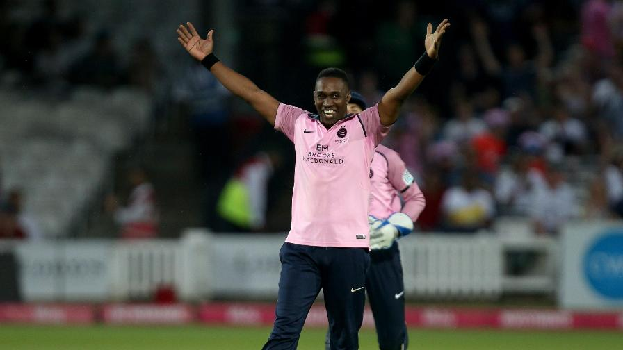 The winning moment! Dwayne Bravo takes the wicket of fellow West Indian Fidel Edwards as Middlesex beat Hampshire