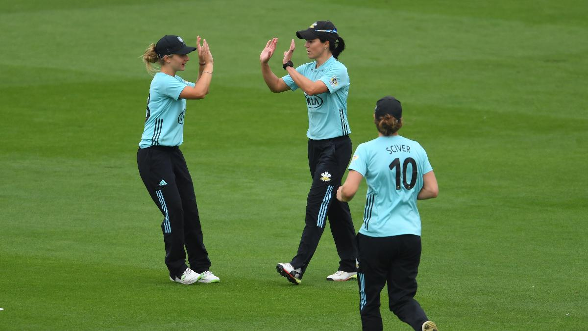 Surrey's players jubilant as they take another wicket on a triumphant Finals Day