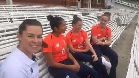Tammy Beaumont introduces Sophia Dunkley, Linsey Smith and Kirstie Gordon.