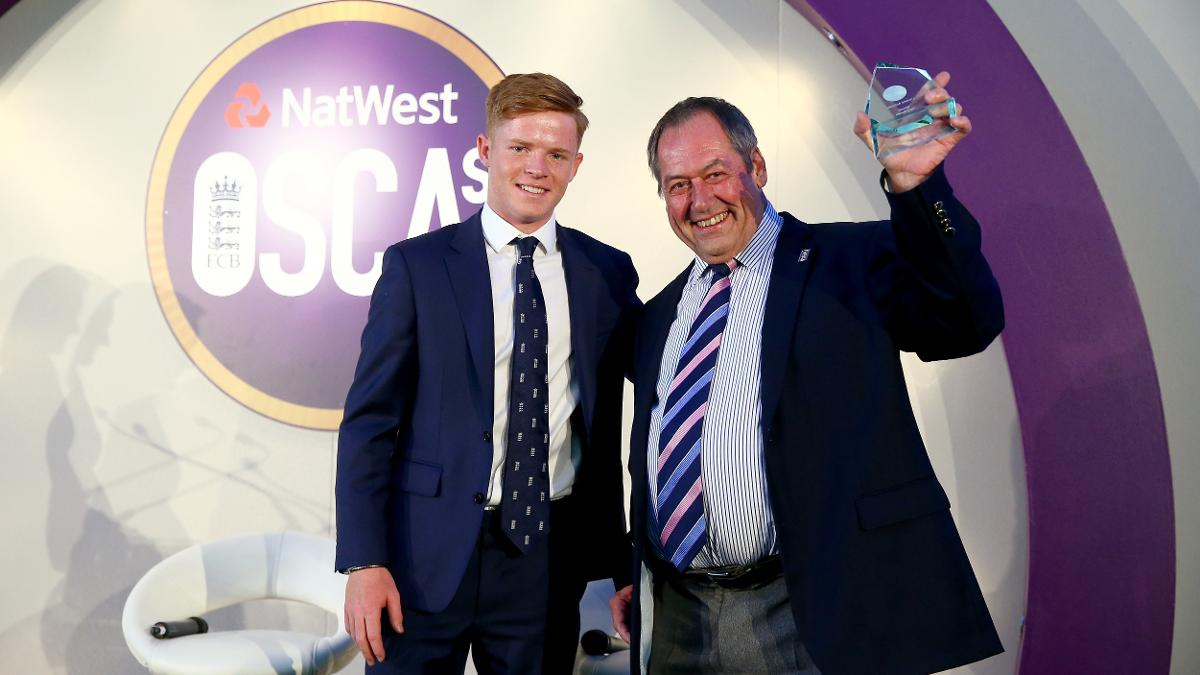 Lifetime Achiever recipient Tony Banks of Springhill Cricket Club, pictured with Surrey and England's Ollie Pope