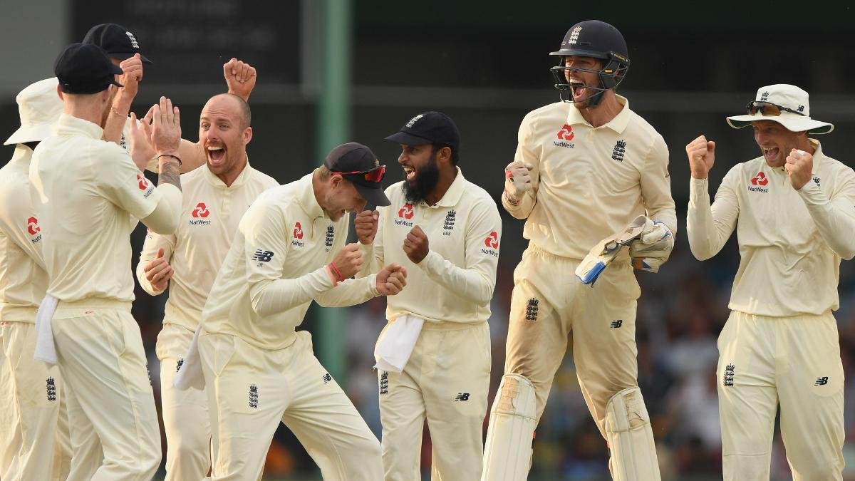 England's Test team celebrate in Sri Lanka