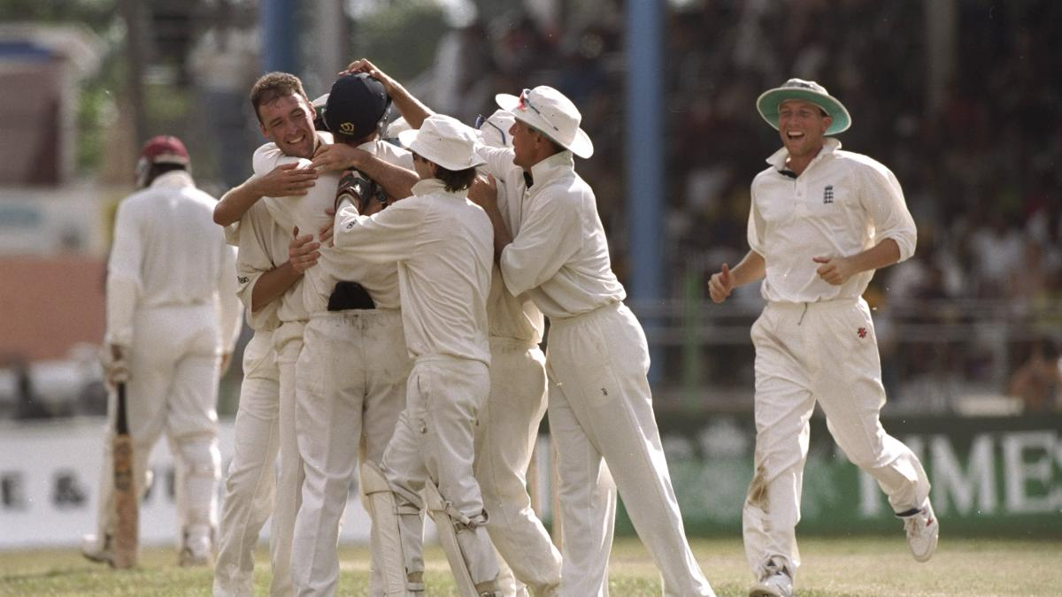 England celebrate during Angus Fraser's spell of 8-53 in 1998