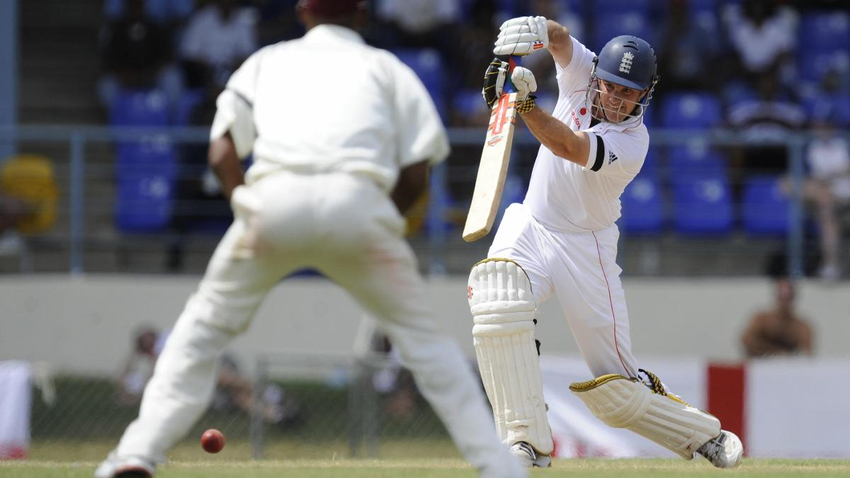 Andrew Strauss drives on his way to 142 in Trinidad