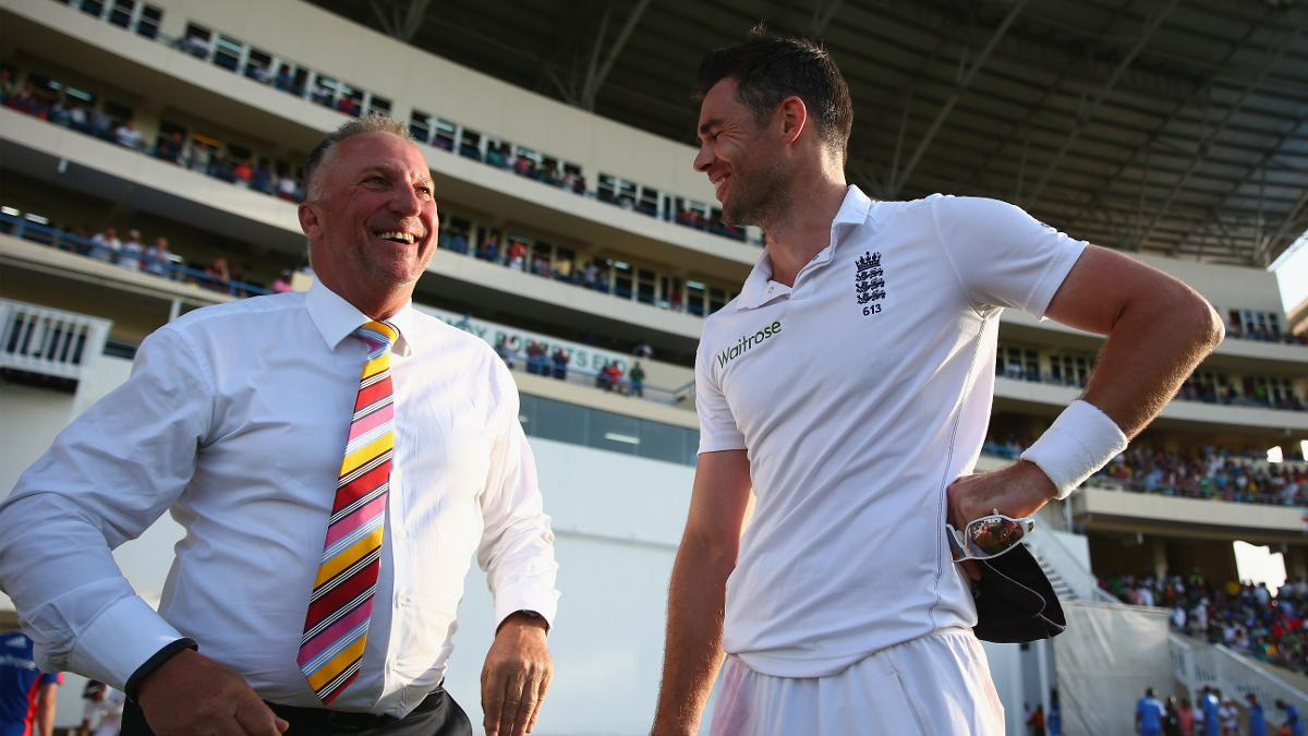 James Anderson and Sir Ian Botham chat after Anderson becomes England's leading all-time Test wicket taker