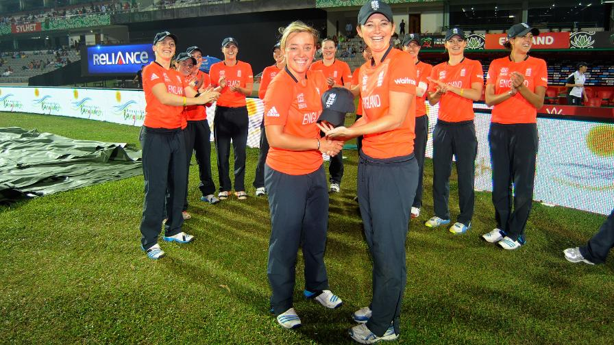 Strong performances saw Dani named as the best IT20 bowler in the world in 2014. Here she receives her 50th IT20 cap from Charlotte Edwards at the ICC Women's World Twenty20.
