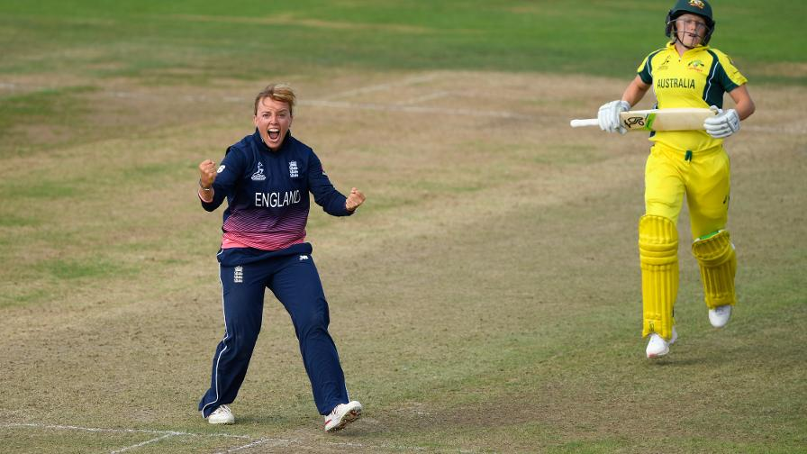 On the road to World Cup glory. Dani takes the crucial wicket of Alyssa Healy in the World Cup group win over Australia at Bristol.