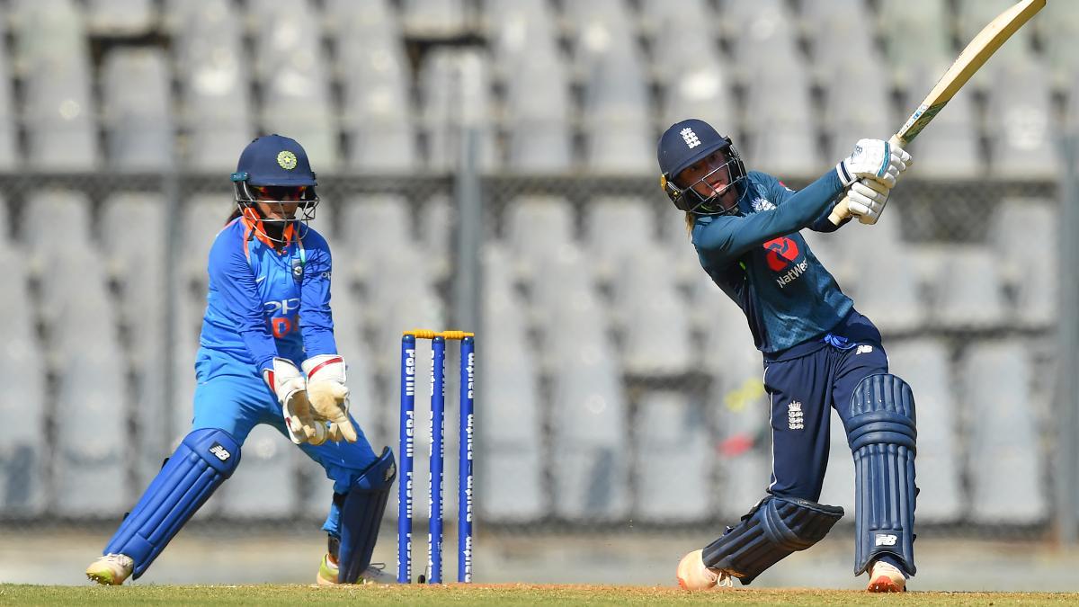 Danni Wyatt on her way to scoring 50 against India in Mumbai