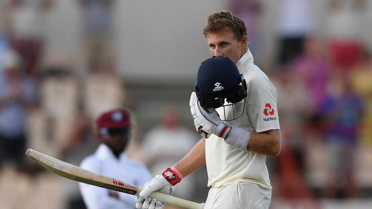 Joe Root celebrates his 16th Test century in St Lucia