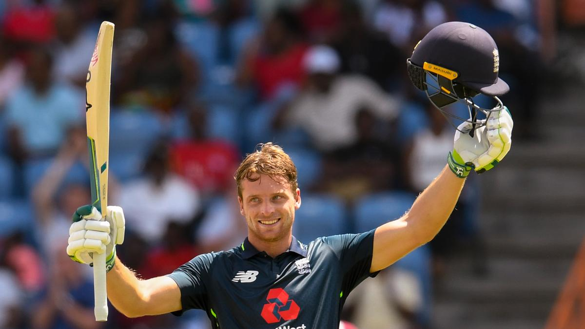 Jos Buttler celebrates his incredible century in Grenada