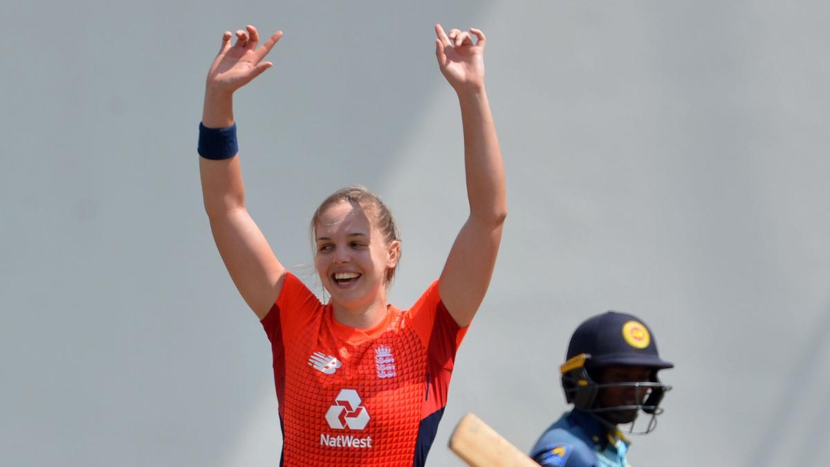 Freya Davies celebrates a wicket on debut