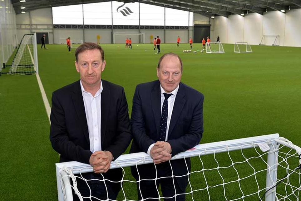 Swansea chairman Huw Jenkins with Ged Roddy in the new indoor barn